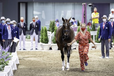 Lara de Liedekerke-Meieer (BEL) presenting Alpaga d'Arville at the Eventing 1st Horse Inspection at the Tokyo 2020 Olympic Games in Baji Koen today. (FEI/Libby Law)